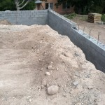Retaining wall/building pad, southeast corner
