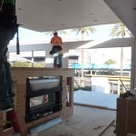 living room - ceiling panel being put in place