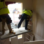 sheetrocking the panelized stair